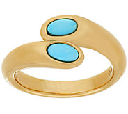 14K Gold Sleeping Beauty Turquoise Bypass Ring - J319608