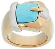 14K Gold Sleeping Beauty Turquoise Buckle Ring - J319708