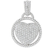Judith Ripka Sterling 0.34 ct Pave Diamonique Heart Enhancer - J320008