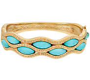 14K Gold Large Sleeping Beauty Turquoise Doublet Bangle Bracelet - J320708