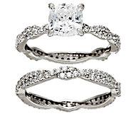 Diamonique 100-Facet 2-Piece Ring Set, Platinum Clad - J323608