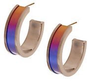 As Is Mirell Titanium 1-1/2 Colored Hoop Earrings - J328208