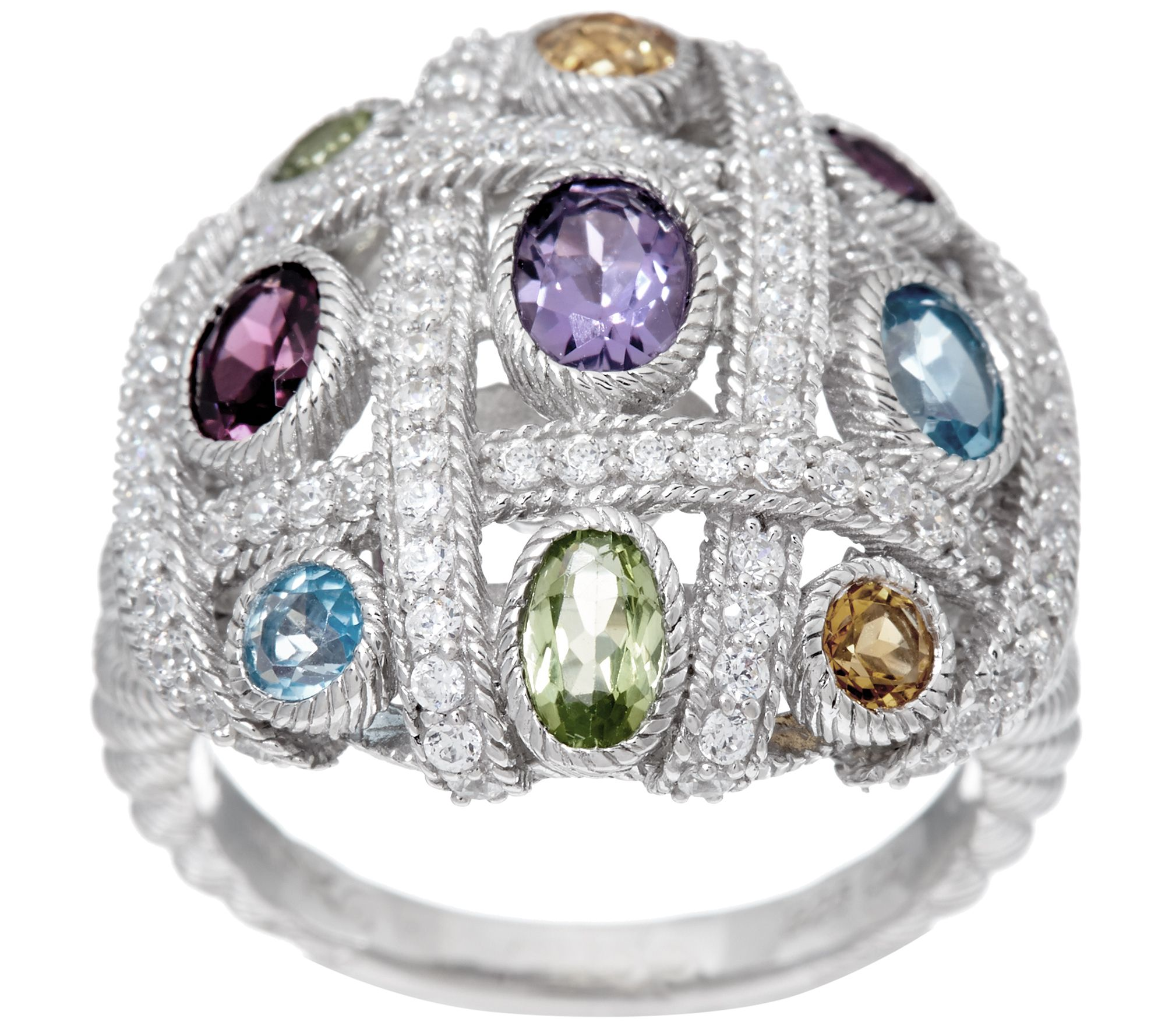 Judith Ripka Sterling Silver Multi-Gemstone Diamonique Woven Ring - J328808