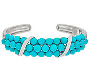 As Is Sleeping Beauty Turquoise Bold Cluster Sterling Cuff - J329108