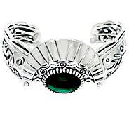 Fritz Casuse Sterling & Malachite Harvest Moon Cuff Bracelet - J329408