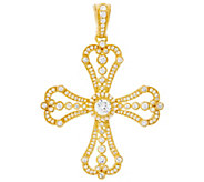 Judith Ripka Sterling or 14K Clad Diamonique Cross Enhancer - J331208