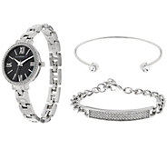 Isaac Mizrahi Live! Watch Set w/ Pave ID & Crystal Bangle - J331608