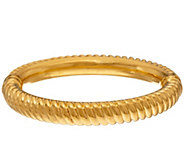 As Is Oro Nuovo Large Ribbed Oval Hinged Bangle Bracelet, 14K - J331808
