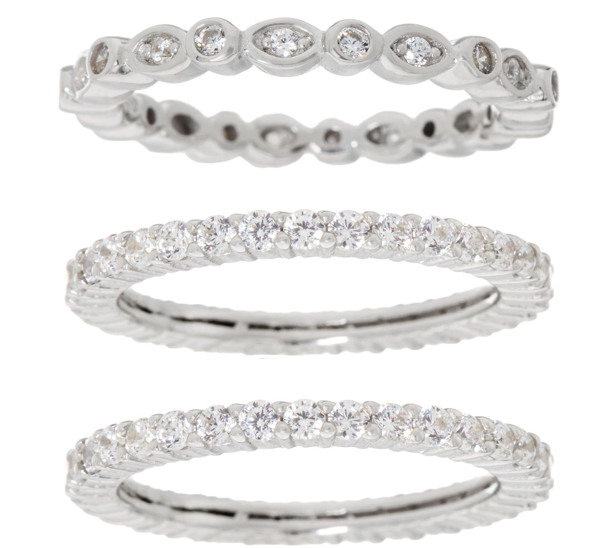 diamonique set of three eternity band rings sterling or 14k clad j334208 - Diamonique Wedding Rings