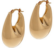 Italian Gold Graduated 1 Oval Hoop Earrings, 14K Gold - J346008