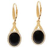 Black Onyx & Diamond Rope Design Lever Back Earrings, 14K - J346208
