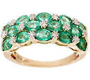 As Is Zambian Emerald & Diamond Accent Wide Band Ring, 14K 1.80 cttw - J346408