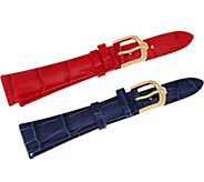 Judith Ripka Stainless Steel Goldtone Leather Watch Straps - J346508