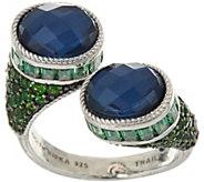 Judith Ripka Sterling Silver Blue Hematite Doublet & Gemstone Ring - J348008