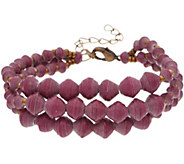 31 Bits Triple Strand Beaded Shadow Edge Adj. Bracelet - J349308