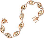 As Is Oval Csarite & Diamond Tennis Bracelet 14K Gold 6.85 cttw - J354208