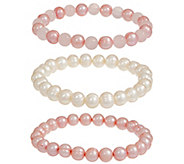 Honora Set of Three Cultured Pearl & Gem Stretch Bracelets - J354408