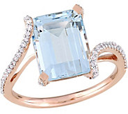 14K Gold 3.40 ct Aquamarine & 1/4 cttw DiamondBypass Ring - J377108