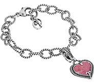 Carolyn Pollack Sterling Heart Charm Bracelet - J377508