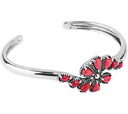Red Coral Sterling Silver Cluster Cuff by American West - J377808