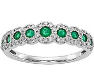 14K White Gold Diamond and Gemstone Band Ring - J378308