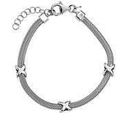 Italian Silver X Mesh Bracelet Sterling, 5.5g - J379708