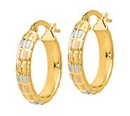 Italian Gold Tri-Color Satin Hoop Earrings, 14K - J381808