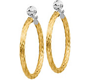 Italian Gold 1-1/2 Two-Tone Textured Hoop Earrings 14K, 3.0g - J382208