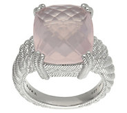 Judith Ripka Sterling Cushion-Cut Rose Quartz Ring - J383208