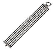 Vicenza Silver Sterling 7-1/4 Multi-strand Diamonique & Rope Bracelet - J269009