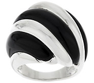 Sterling Polished & Black Onyx Waved Dome Ring - J283309