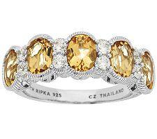 Judith Ripka Sterling 2.90ct Golden Beryl & Diamonique Band Ring