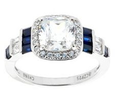 Epiphany Diamonique Cushion Halo & Simulated Sapphire Ring