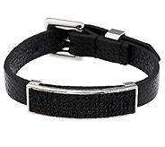 Stainless Steel Adjustable Crystal Station Leather Bracelet - J287709