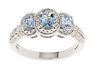 0.55 ct tw Santa Maria Aquamarine & Diamond Ring 14K Gold - J288909