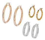 Set of 3 14K Gold, 950 Silver & Bronze Hoop Earrings - J290309