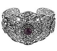 Artisan Crafted Sterling Indian Ruby Telkari Filligree Cuff - J291909