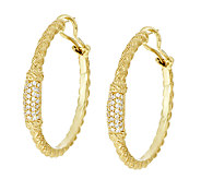 Judith Ripka Sterling 14K Clad Diamonique Pave Hoop Earrings - J295209