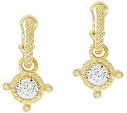 Judith Ripka Sterling & 14K Clad 4.25 cttw Diamonique Hoop Charm Earrings - J297009