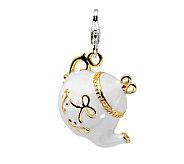 Amore La Vita Sterling Gold-Plated White TeapotCharm - J299809