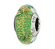 Prerogatives Sterling Green and Gold Italian Murano Glass Bead - J300309