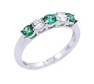 Diamonique & Simulated Emerald Band Ring, Platinum Clad - J302409