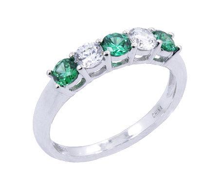 epiphany diamonique simulated emerald 5 stoneband ring