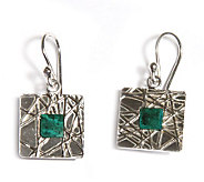Novica Artisan Crafted Sterling Square EarthEarrings - J303509
