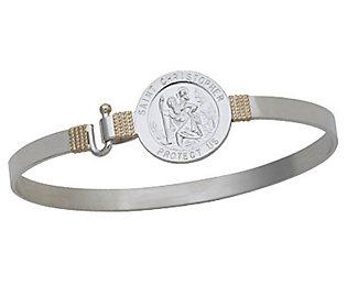 St. Christopher Medal Bangle, Sterling Silver/14K Gold
