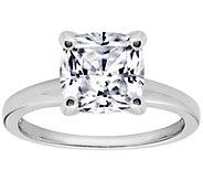 Diamonique Cushion 100-Facet Solitaire Ring,Platinum Clad - J305509