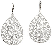 Vicenza Silver Sterling Large Diamond Cut Pear Shape Dangle Earrings - J317709