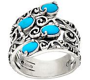 Carolyn Pollack Sterling Silver Sleeping Beauty Turquoise Bypass Ring - J320109