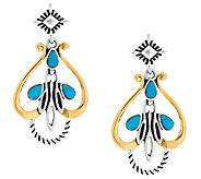 Sterling/Brass Turquoise Drop Earrings by American West - J320509