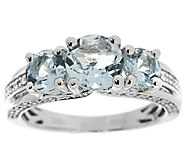 Three Stone Aquamarine & Zircon Sterl. Ring, 1.95 cttw - J320709